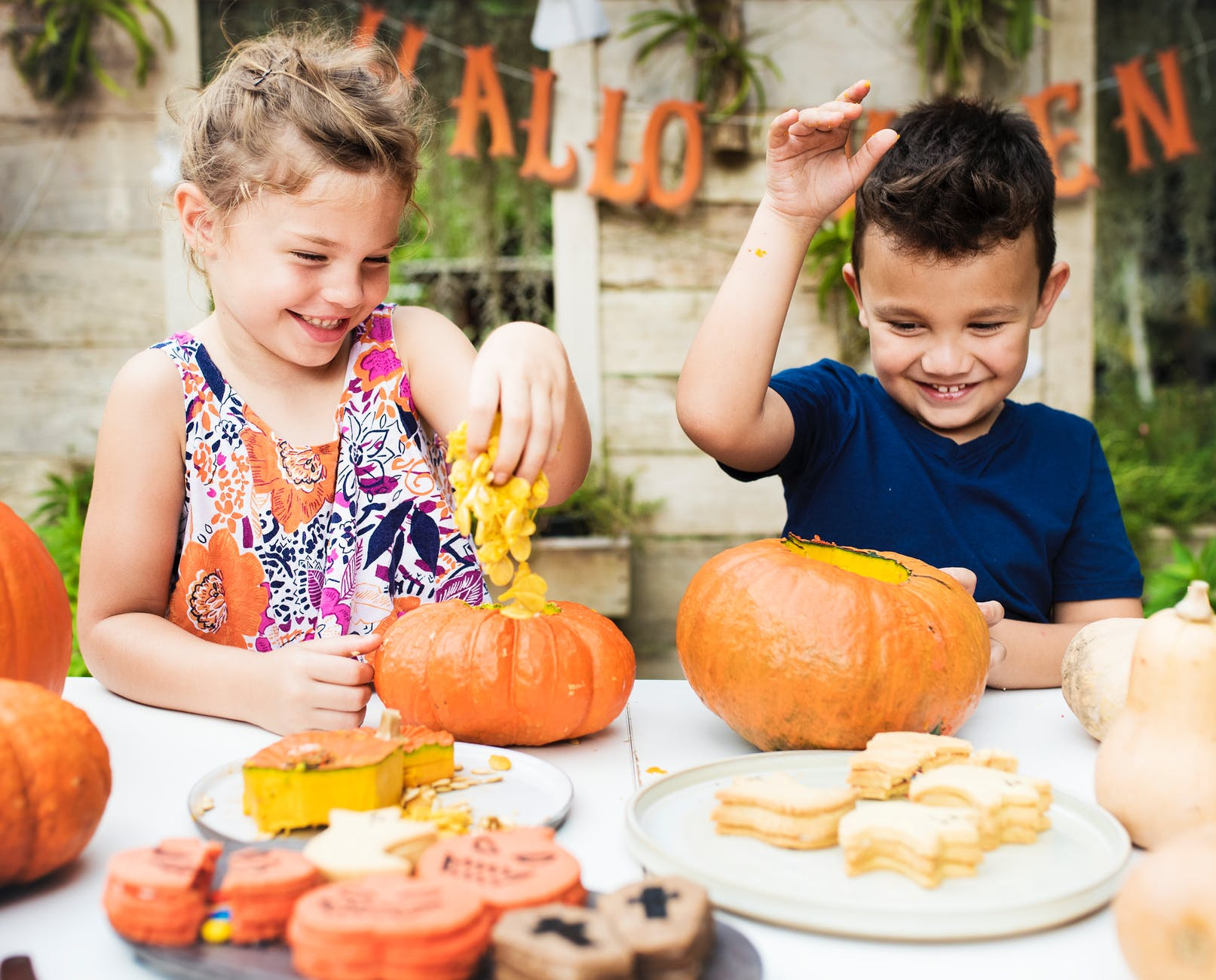 boy and girl playing with pumpkins