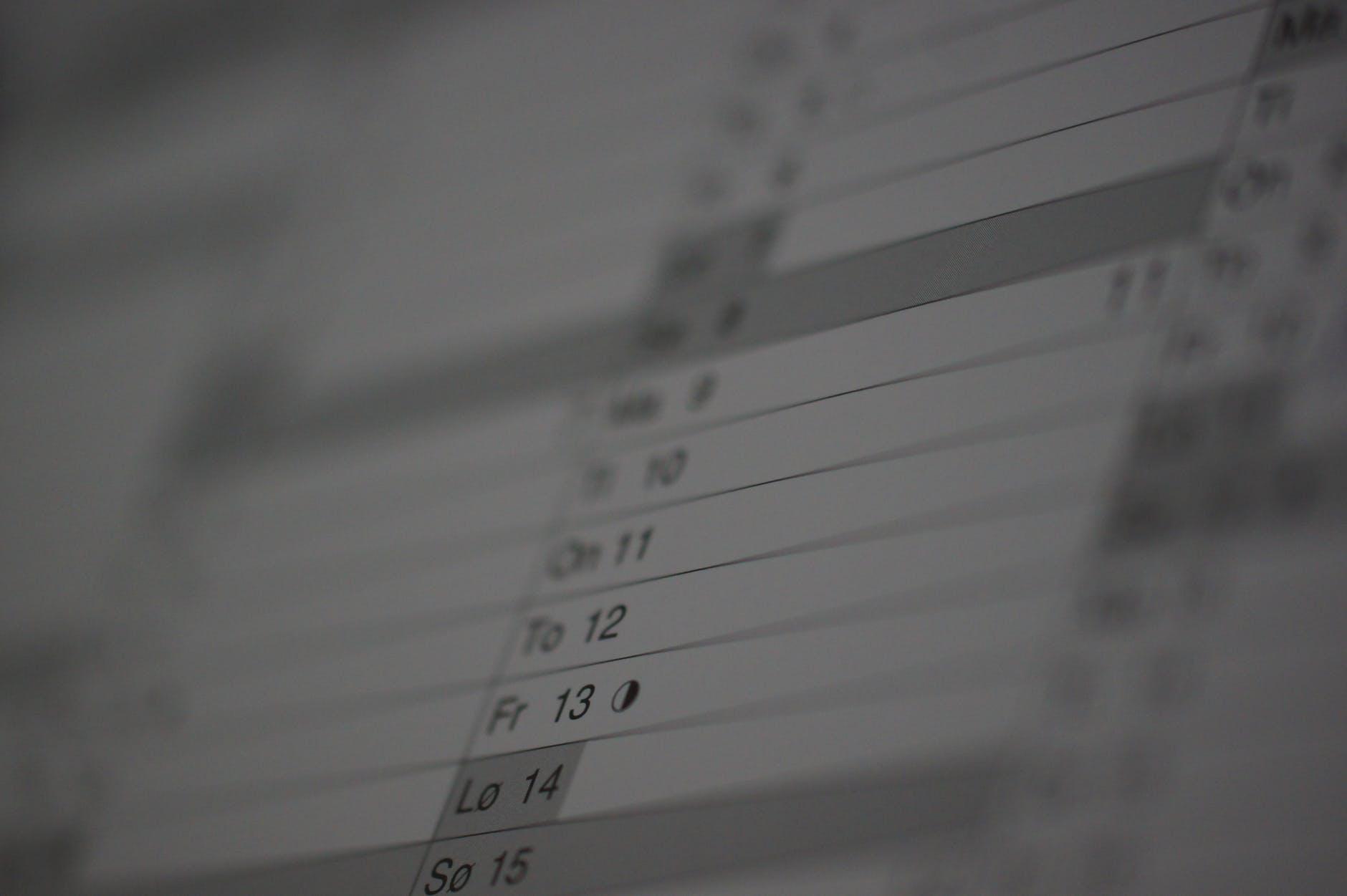 blur calendar date note
