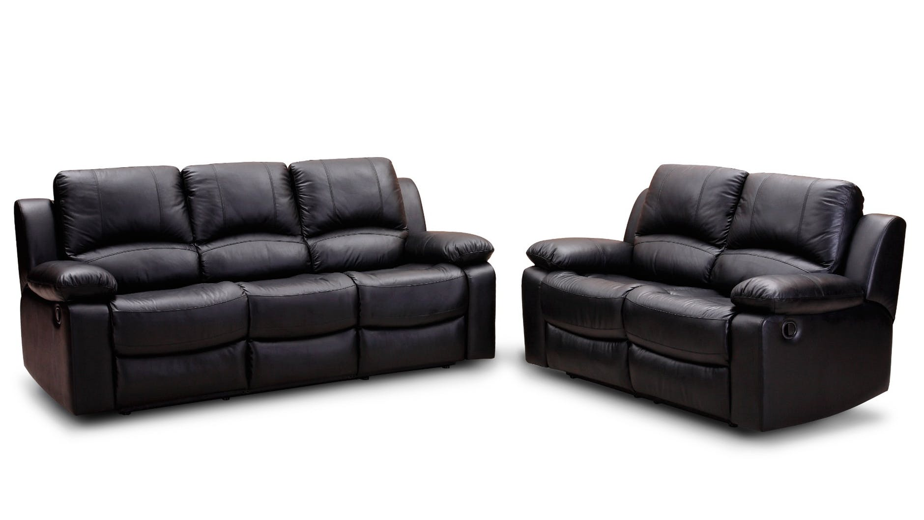 black leather padded cushion couch near to black leather padded cushion loveseat