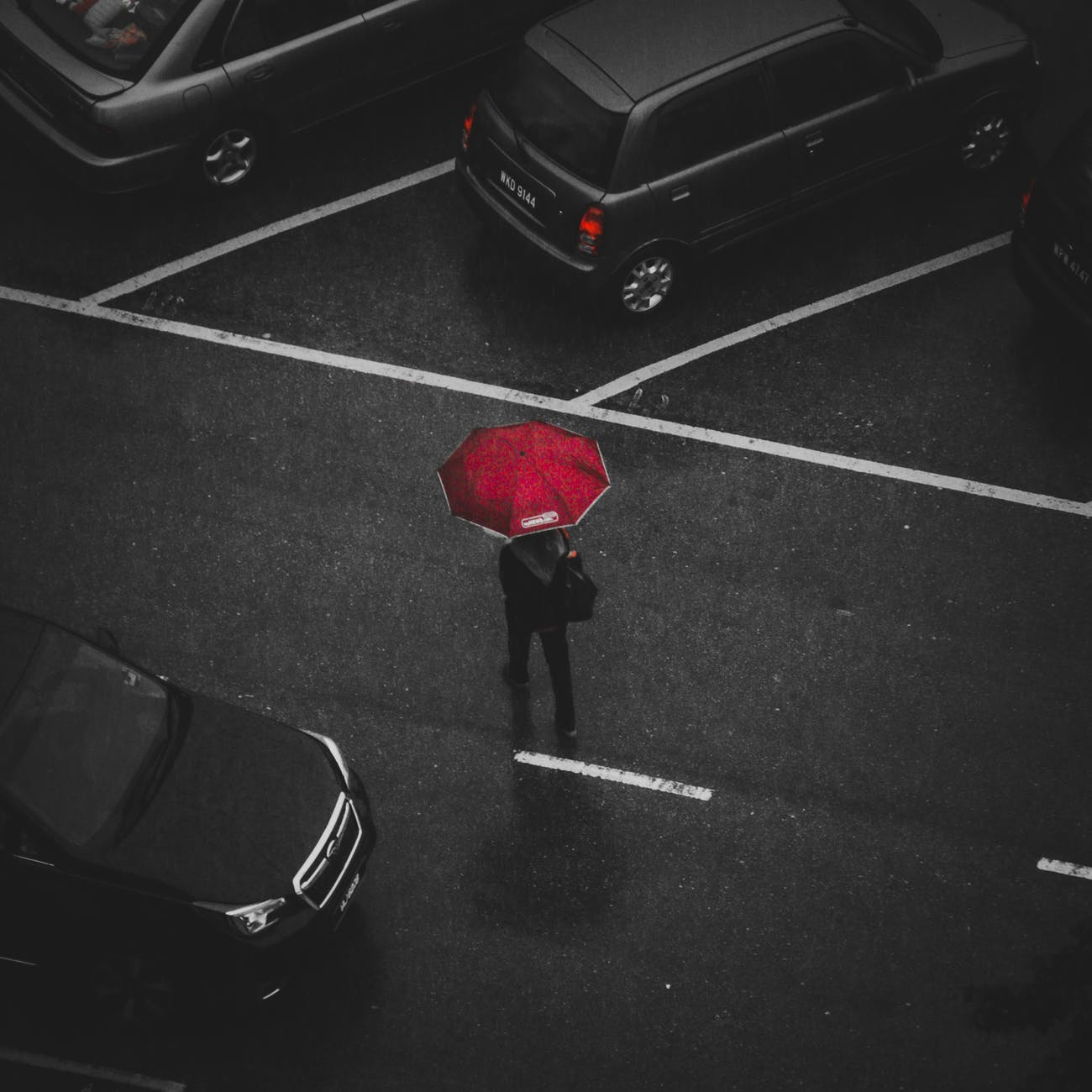 person holding red umbrella walking on street