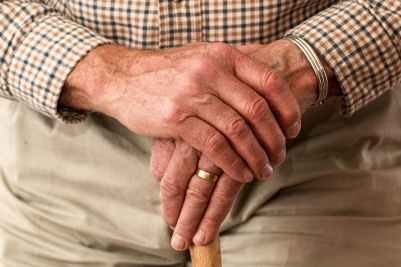 man hands waiting senior