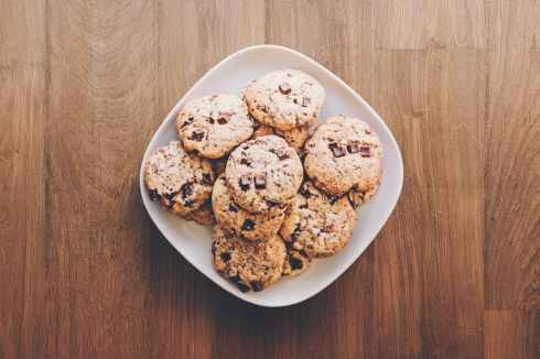 cookies on square white ceramic plate