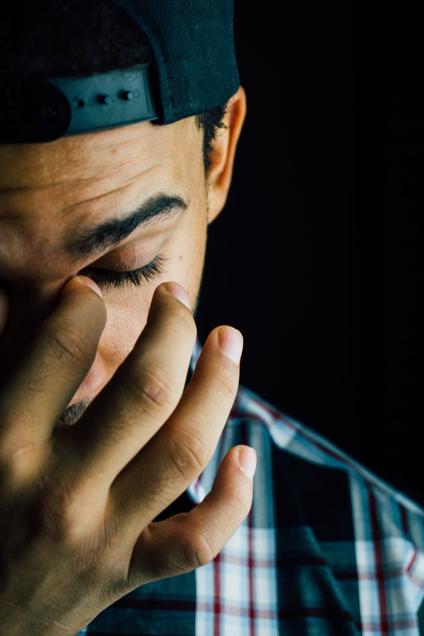 adult dark depressed face