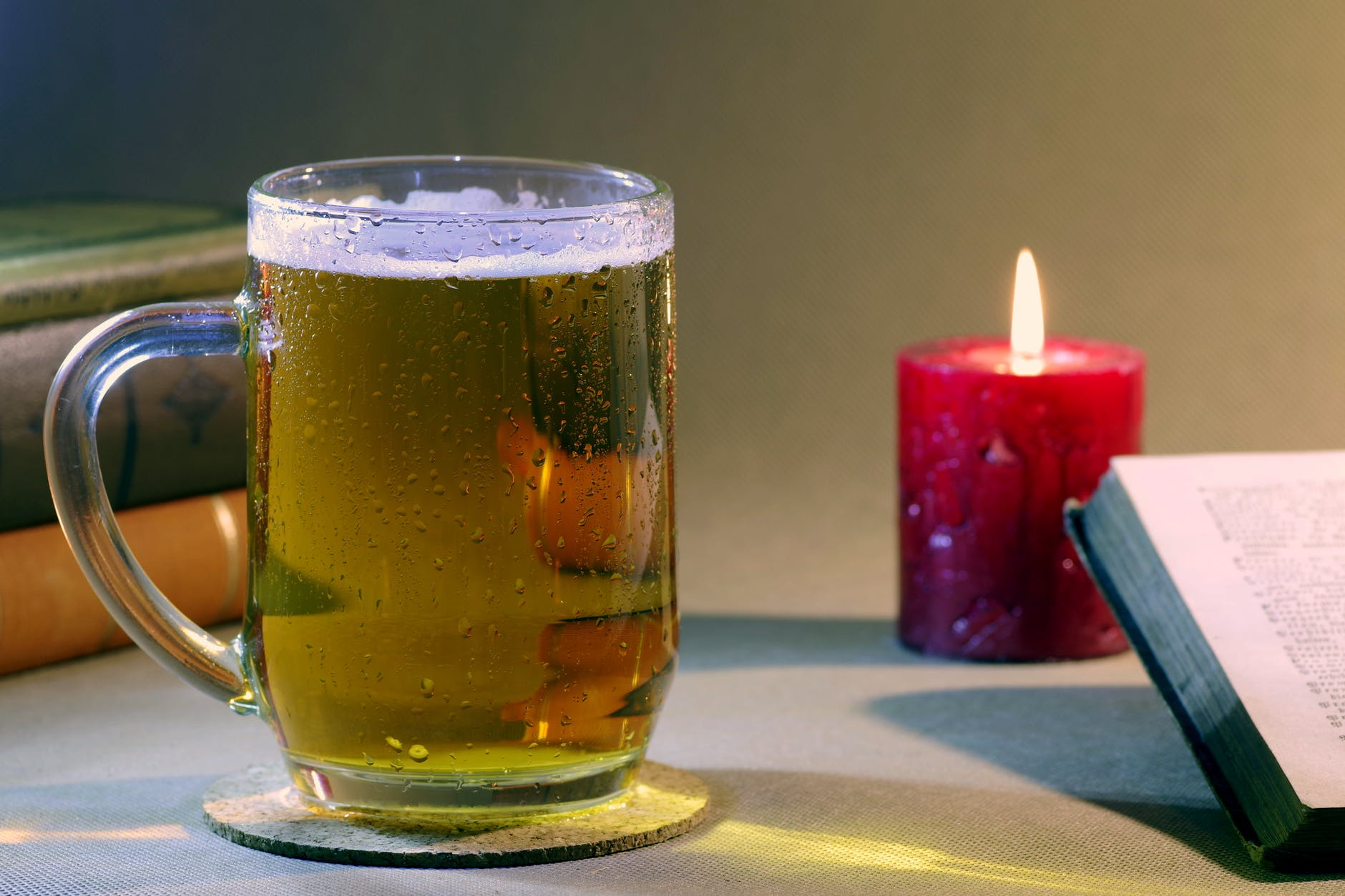 alcohol beer books candle